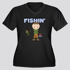 boyfishin Women's Plus Size Dark V-Neck T-Shirt
