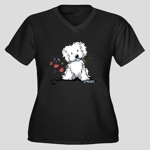 KiniArt Malt Women's Plus Size V-Neck Dark T-Shirt