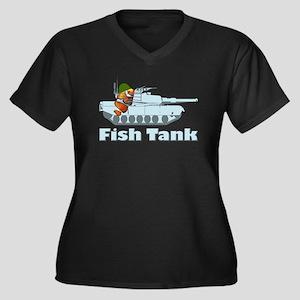Fish Tank Women's Plus Size V-Neck Dark T-Shirt