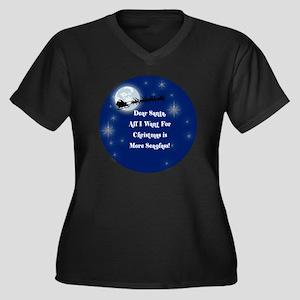 santa Women's Plus Size Dark V-Neck T-Shirt