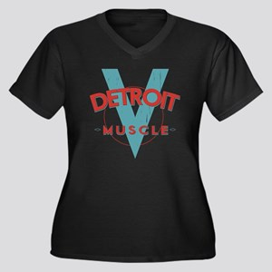 Detroit Musc Women's Plus Size Dark V-Neck T-Shirt