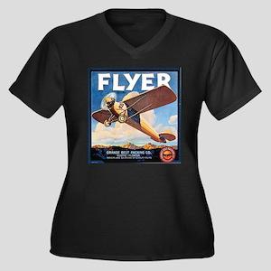 The Orange Ad Plane Women's Plus Size V-Neck Dark