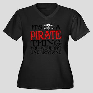 PIRATE_THING Women's Plus Size Dark V-Neck T-Shirt