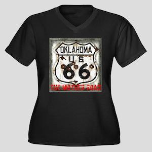 Oklahoma Route 66 Classic Women's Plus Size V-Neck