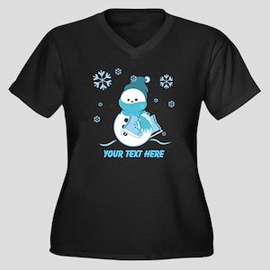 Cute Personalized Snowman Women's Plus Size V-Neck