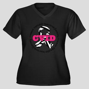 CVID Zebra Ribbon Women's Plus Size V-Neck T-Shirt