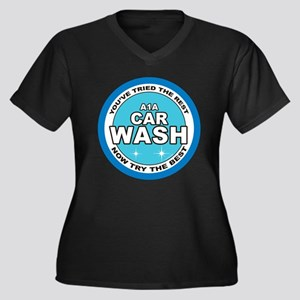 A1 Car Wash Women's Plus Size V-Neck Dark T-Shirt