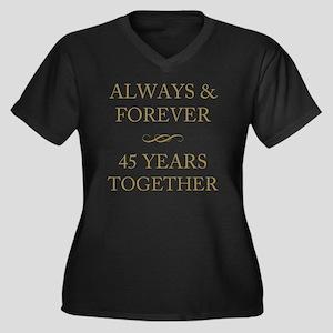 45 Years Tog Women's Plus Size V-Neck Dark T-Shirt
