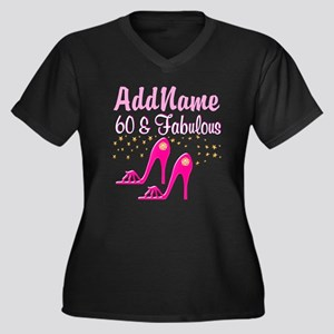 60TH PINK SHOES Women's Plus Size V-Neck Dark T-Sh