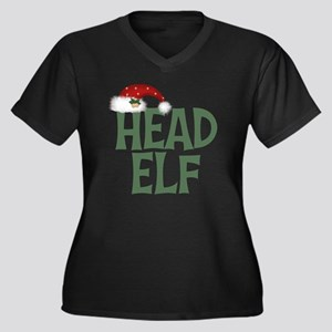 Head Elf Women's Plus Size Dark V-Neck T-Shirt