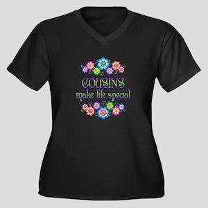 Cousins Make Women's Plus Size V-Neck Dark T-Shirt