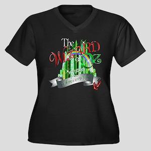 Wizard of OZ Women's Plus Size V-Neck Dark T-Shirt