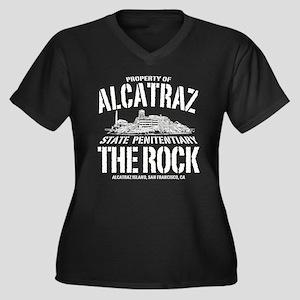PROPERTY OF ALCATRAZ Women's Plus Size V-Neck Dark