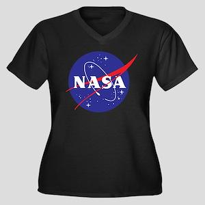 NASA Logo Women's Plus Size V-Neck Dark T-Shirt