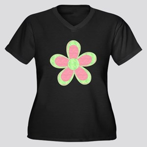 Pink and Green Flowers Plus Size T-Shirt