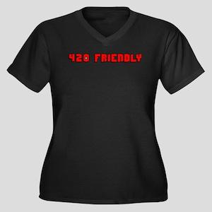 420 FRIENDLY Women's Plus Size V-Neck Dark T-Shirt
