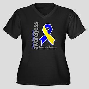 DS Awareness Women's Plus Size V-Neck Dark T-Shirt