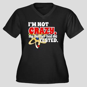 TBBT I'm Not Crazy Women's Plus Size V-Neck Dark T