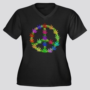 Rainbow Peace Marijuana Leaf Art Women's Plus Size