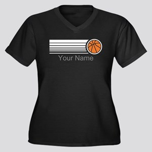 Basketball P Women's Plus Size V-Neck Dark T-Shirt