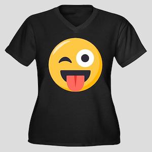 Winky Tongue Women's Plus Size V-Neck Dark T-Shirt