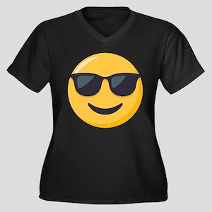 Sunglasses E Women's Plus Size V-Neck Dark T-Shirt