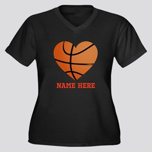 Basketball L Women's Plus Size V-Neck Dark T-Shirt
