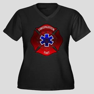 FIREFIGHTER-EMT Women's Plus Size V-Neck Dark T-Sh