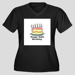 Happy 24th Birthday Women's Plus Size V-Neck Dark