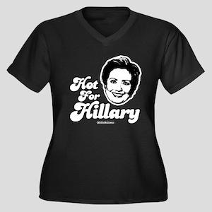Hot for Hillary Women's Plus Size V-Neck Dark T-Sh
