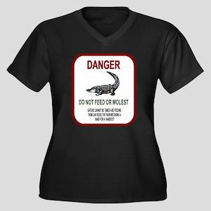 Gator Danger Women's Plus Size V-Neck Dark T-Shirt