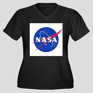 NASA_RevD Women's Plus Size V-Neck Dark T-Shirt