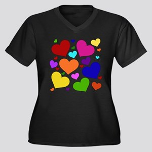 Rainbow Hearts Women's Plus Size V-Neck Dark T-Shi