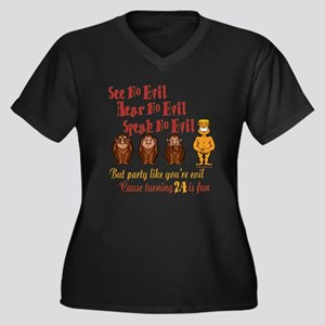 Party 24th Women's Plus Size V-Neck Dark T-Shirt