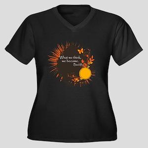 Buddha Quote Women's Plus Size V-Neck Dark T-Shirt