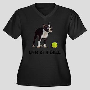 Boston Terrier Life Women's Plus Size V-Neck Dark