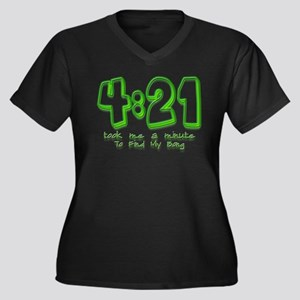 4:21 Funny Lost Bong Pot Desi Women's Plus Size V-