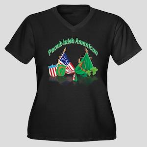 Irish American Women's Plus Size V-Neck Dark T-Shi