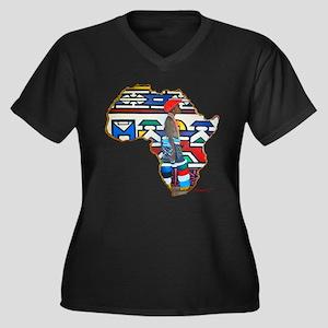 Ndebele Girl Women's Plus Size V-Neck Dark T-Shirt