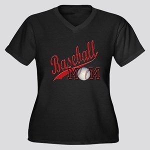 Baseball Mom Women's Plus Size V-Neck Dark T-Shirt