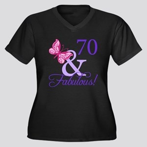 70 And Fabulous Women's Plus Size V-Neck Dark T-Sh