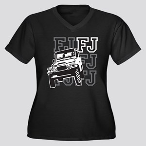 FJ Cruising Women's Plus Size V-Neck Dark T-Shirt