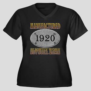Manufactured 1920 Women's Plus Size V-Neck Dark T-