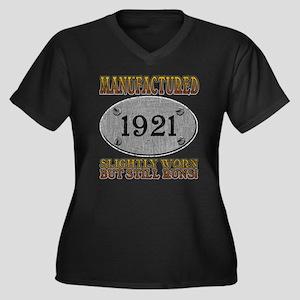 Manufactured 1921 Women's Plus Size V-Neck Dark T-