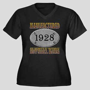 Manufactured 1928 Women's Plus Size V-Neck Dark T-