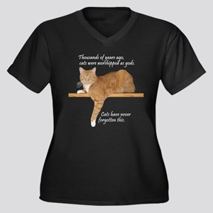 Orange Kitty Cat Women's Plus Size V-Neck Dark T
