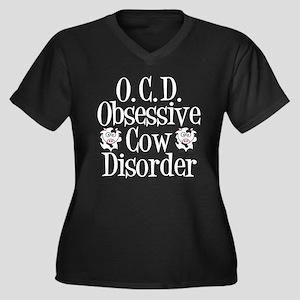 Obsessive Cow Disorder Women's Plus Size V-Neck Da