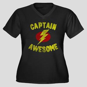 Captain Awesome Women's Plus Size V-Neck Dark T-Sh