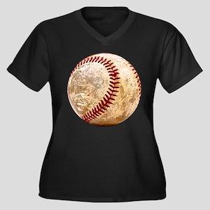 BASEBALL Women's Plus Size V-Neck Dark T-Shirt