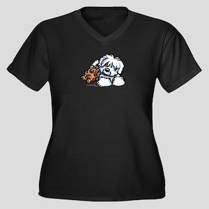 Coton Teddy Women's Plus Size V-Neck Dark T-Shirt